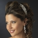Silver Clear Rhinestone Side Accented Bridal Double Side Accented Headband Headpiece 1689
