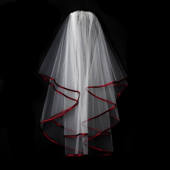 Double Tier Veil with Burgundy Satin Ribbon Edge V 655