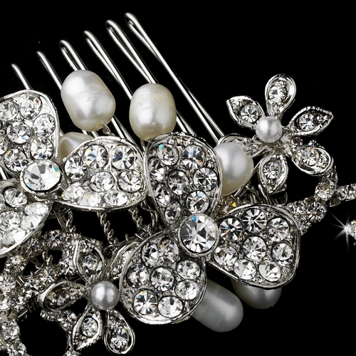 Antique Silver Flower Bridal Hair Comb with Pearl & Rhinestone Accents 8321