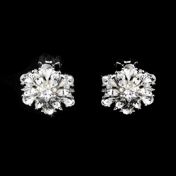 Glistening Silver Clear Crystal Burst Clip On Earrings 25029