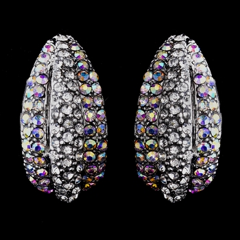 Glamorous Silver Clear & Aurora Borealis Rhinestone Half Hoop Earrings 8713
