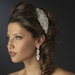 Silver Clear Beaded Crystal & Rhinestone Side Accented Fabric Headpiece 9036