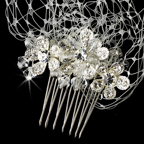 Russian Birdcage Tulle Headband Veil with Rhinestone & Austrian Crystal Flower Combs 9819