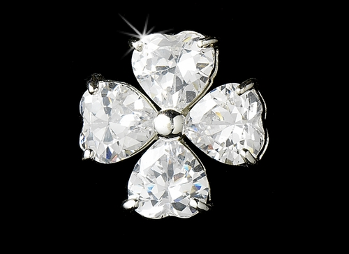 Irish Heart Flower Stud CZ Earrings 25191