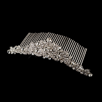 Antique Silver Clear Rhinestone Floral Comb 411