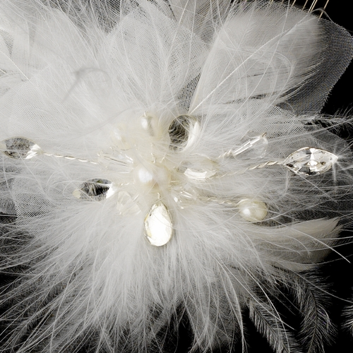* Lovely Ivory Feather Spray Birdal Hair Comb w/ Pearls & Rhinestones 8432