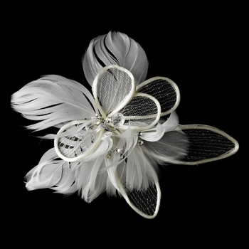 * Fabulous White or Ivory Flower Bridal Hair Comb w/ Feathers & Clear Rhinestones 9808