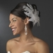 * Large Bridal Feather Comb Headpiece 1538 White or Ivory