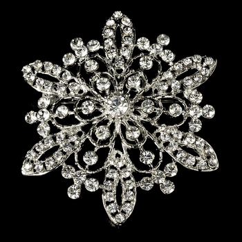 Vintage Rhinestone Bridal Brooch 36 Antique Silver with Rhinestones