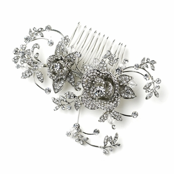 Antique Silver Clear Rhinestone Diamond White Flower & Leaf Hair Comb 753
