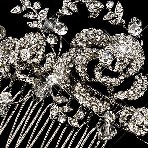Antique Silver Clear Swarovski Crystal Bead & Rhinestone Comb 756