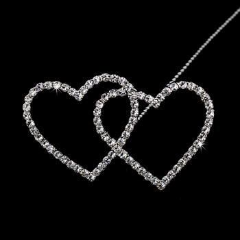 Forever & Always... Crystal Double Heart Bouquet Jewel BQ 223 (Silver or Gold)