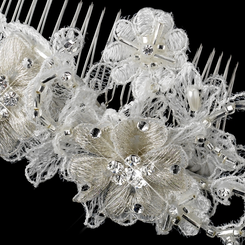 Diamond White Pearl, Rhinestone & Bugle Bead Embroidered Fabric Flower Hair Comb 9720**Discontinued**