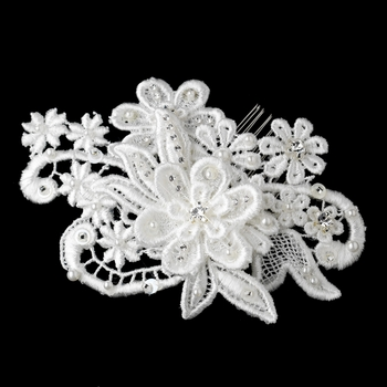 * Diamond White Pearl, Glass  Bead Fabric Flower Hair Comb 9722***Discontinued***