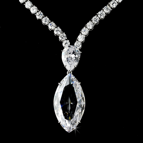 Stunning Antique Silver Clear Cubic Zirconium Necklace w/ Marquise Dangle Drop N 5067