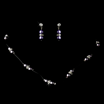 Necklace Earring Set 206 Purple Passion