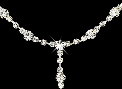 * Glistening Silver Clear Rhinestone Necklace, Earring & Bracelet Set 322 ***Discontinued***