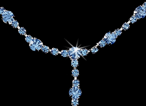 * Glistening Silver Light Blue Rhinestone Necklace, Earring & Bracelet Set 322