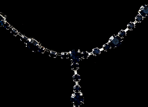 * Glistening Silver Navy Rhinestone Necklace, Earring & Bracelet Set 322
