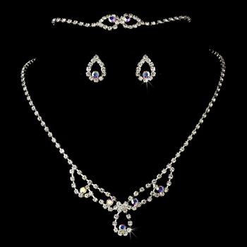 * Silver and AB Necklace Set NEB 361