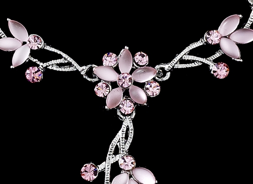 * Pink Rhinestone Necklace, Bracelet, & Earring Set NEB 061