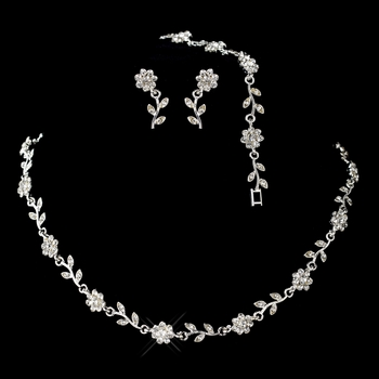 Silver Clear Rhinestone Necklace, Earrings & Bracelet Floral Jewelry Set 6003