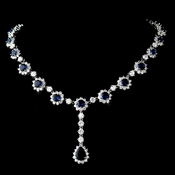 Gorgeous Antique Silver Sapphire / Clear Cubic Zirconia Necklace N 5063