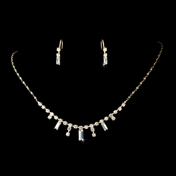 * Gold Clear Necklace Earring Set 332 ***Discontinued****