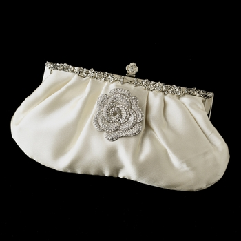Rhinestone Accented Vintage Frame Satin Evening Bag 309 with Antique Silver Clear Floral Brooch 113