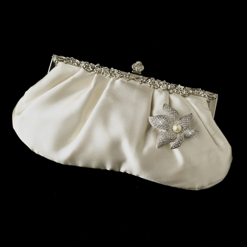 Rhinestone Accented Vintage Frame Satin Evening Bag 309 with  Silver Ivory Pearl Starfish Orchid Brooch 67