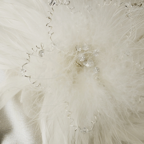 Rhinestone Accented Vintage Frame Satin Evening Bag 309 with Feather Fascinator Clip 1531