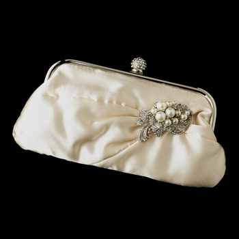 Satin Crystal Evening Bag 315 with Antique Silver Clear & Diamond White Pearl Accent Brooch 211