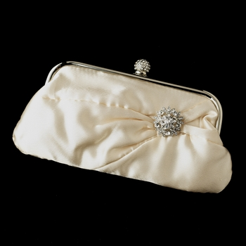Satin Crystal Evening Bag 315 with Antique Silver Clear Vintage Antique Flower Brooch 185