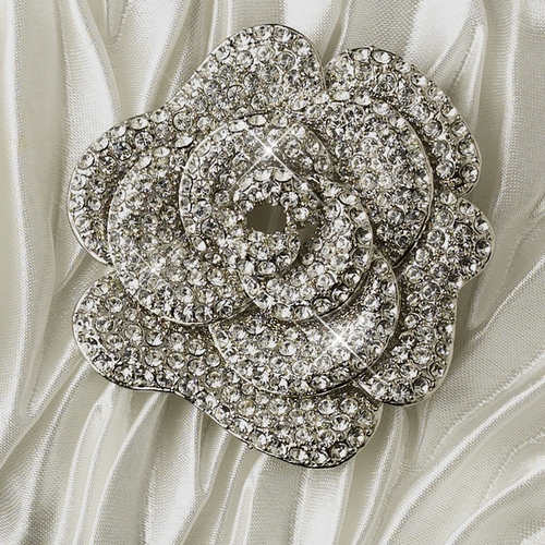 Satin Evening Bag with Antique Silver Clear Floral Brooch 113