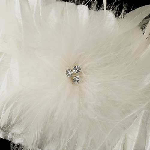 Satin Evening Bag with Triple Crystals & Feather Fascinator Clip 442