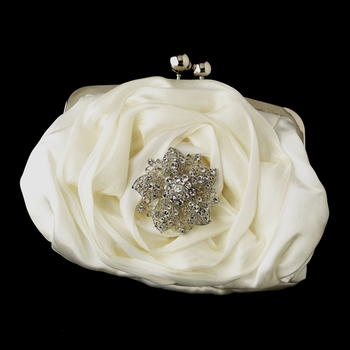 Silver Frame & Shoulder Strap Floral Rose Evening Bag 329 with Silver Clear Rhinestone Floral Starfish Brooch 156