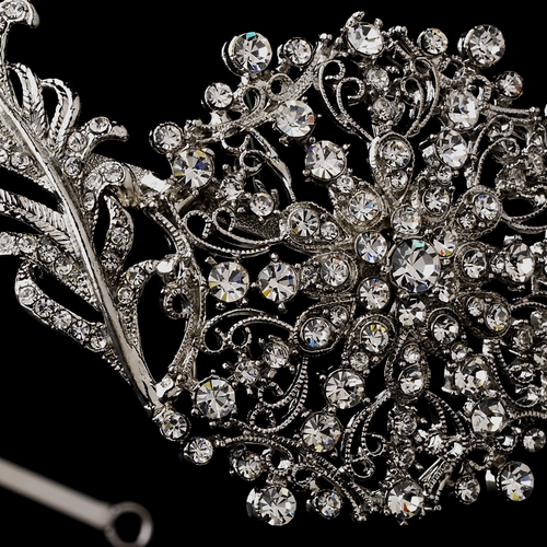 Alluring Antique Silver Clear Crystal Side Accented Headpiece 7062