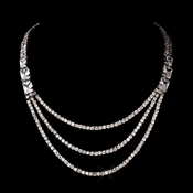Silver Clear Cubic Zirconia Multi-Strand Necklace 2771