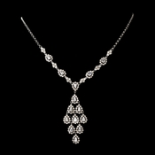 Stunning Antique Silver Clear Cubic Zirconia Necklace N 6526
