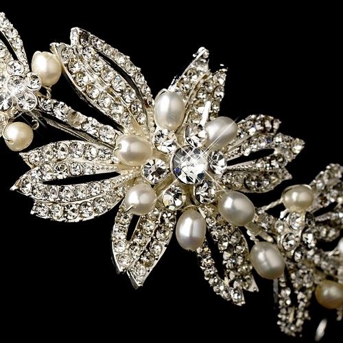 Rhinestone & Pearl Bridal Headband with Side Accent HP 637