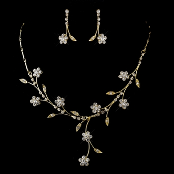 Gold Clear Necklace & Earrings Bridal Jewelry Set 363