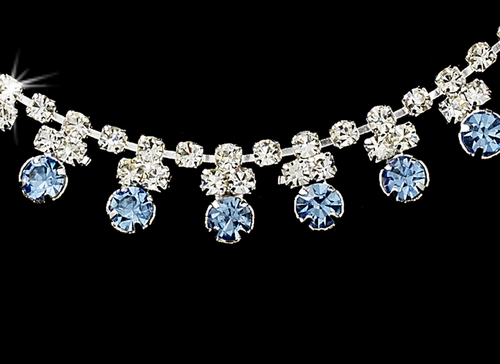 * Light Blue Accented Necklace & Earring Jewelry Set NE 358