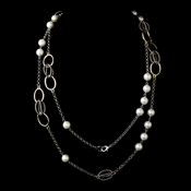 "Silver Gold Pearl 48"" Necklace 7987"