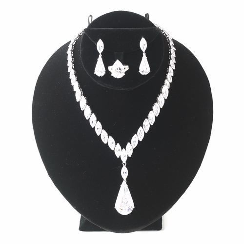 Black Velvet Necklace Display on Stand for Necklace, Earring & Ring