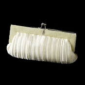 Gorgeous Ivory Pleated Satin Beaded Evening Bag 304