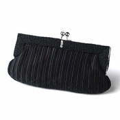 Gorgeous Black Pleated Satin Beaded Evening Bag 304