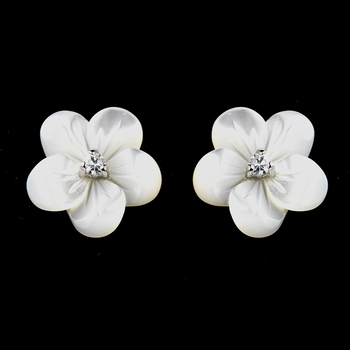 Charming Mother of Pearl Flower Earrings w/ Clear Cubic Zirconia 1038