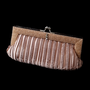 Dusty Rose Pleated Satin Beaded Evening Bag 304