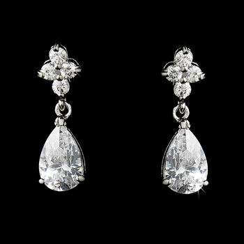Fabulous Silver Clear CZ Bridal Teardrop Earrings 2015
