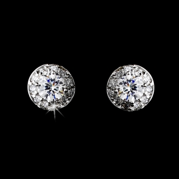 Silver Clear Pave Encrusted CZ Solataire Stud Earrings 3553